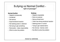 The difference between #Bullying and conflicts.