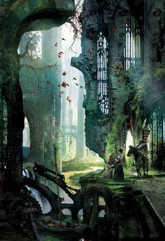Fallen bridge. If anyone knows the artist for this, please comment with it. I'd love to give credit where so much credit is due. This is lovely.