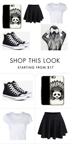 """""""Black Bow"""" by xbluerose12 ❤ liked on Polyvore featuring Converse, RE/DONE and WithChic"""