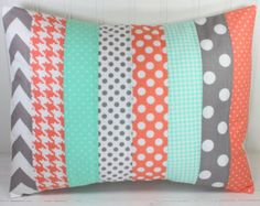 Pillow Cover, Unisex Nursery Decor, Gender Neutral Nursery Pillow, Playroom Pillow Cover,12 x 16 Inches, Peach, Mint Green, Gray, Chevron