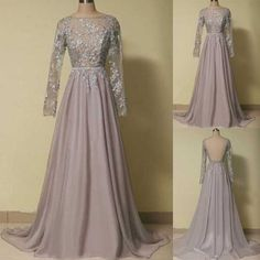 Grey Long Sleeves Applique Open Back Long Prom Dresses, BG51485