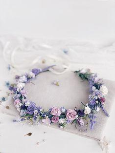 Girls Crown, Flower Girl Crown, Flower Crown Wedding, Wedding Hair Flowers, Bridal Crown, Bridal Flowers, Floral Crown, Purple Wedding, Flowers In Hair