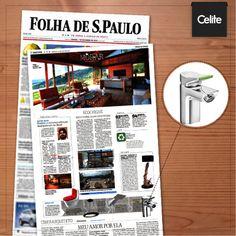 """O Jornal Folha de S.Paulo deu a nossa Celite Colors na matéria """"Ecochique"""", da seção Imóveis, destacando o design aliado à tecnologia do sistema click, que economiza até 65% de água."""
