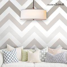Living room with chevron warm gray peel & stick fabric wallpaper, Judit Stein Interiors, Redmond, WA