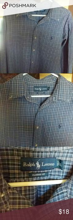 Plaid Ralph Lauren Shirt    Sz XL Classic fit. Blue,black,white plaid. Long sleeves and chest pocket.  Excellent preowned condition.  No rips or stains.  Measurements are in inches:  Chest-27  Neck-17  Sleeves-27  Length-29 Smoker and pets in the home. Ralph Lauren Shirts Casual Button Down Shirts