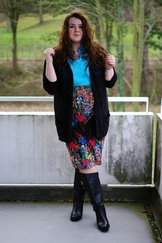 ThePlusSizeBlog.com - plus size outfit - floral pencil skirt (asos curve), turquoise shirt, black leather boots and a black cardigan