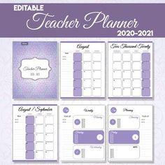 EDITABLE Teacher Planner - 2020-2021 (Purple Flowers) Notes Template, Planner Template, Templates, First Grade Freebies, Teacher Planner, Happy Planner, Purple Flowers, Clip Art, Lettering