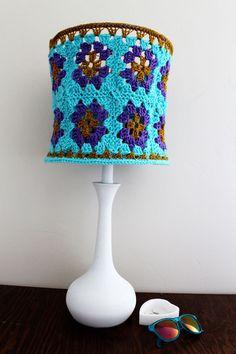 Hippie Crochet Lampshade Granny Square Aqua Blue Purple Pansies Gold Lighting Housewares Home Decor