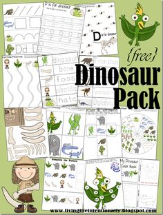Download this free preschool dinosaur printable pack at 123 Homeschool 4 Me. These free printables include activities for children ages 2-7.