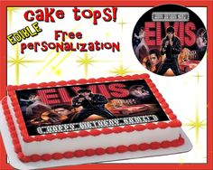 Keep finished cake refrigerated. Colors may run and the image may fade. Elvis Cakes, Elvis Presley Cake, Elvis Presley Images, Elvis Presley's Birthday, 70th Birthday, Cake Icing, Happy Birthday Cakes, Cake Toppings, Fancy Cakes