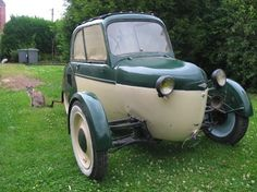 1950's Reyonnah MicroCar (France) 175cc Single Cylinder Two-Stroke engine at 8.5Hp The Front wheels of this car could be folded into the body, but in practice the system never worked properly