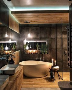 Ein Spa zu Hause ✨ Das Badezimmer ist ein intimer und privater Ort, an dem wir… A spa at home ✨ The bathroom is an intimate and private place where we … Industrial Bathroom Design, Bathroom Interior Design, Rustic Bathroom Designs, Interior Ideas, Modern Industrial, Rustic Modern, Industrial Bedroom Decor, Skandinavisch Modern, Washroom Design