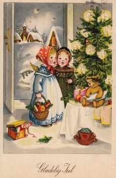 AK, Anita Rahlwes, Weihnachten, Engelchen legen Geschenke auf den Gabentisch***