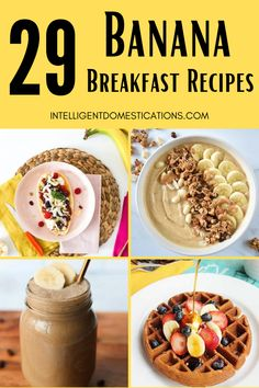 29 Ways to use bananas for breakfast. You can make more than pudding or sandwiches with bananas. These breakfast recipes using bananas are versatile including smoothies, pancakes, breakfast bowls with oatmeal, scrumptious french toast and more. See our 35 Snack Dessert and Drink Recipes Using Bananas too. #bananarecipes #bananas Healthy Banana Recipes, Vegan Recipes Easy, Healthy Breakfasts, Beef Recipes, Banana Chia Pudding, Chocolate Banana Smoothie, Banana Scones, Baked Banana, Best Oatmeal Recipe