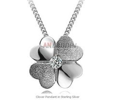 Clover Pendant in Sterling Silver Cheap Silver Jewelry, Crystal Jewelry, Clover Necklace, Pearl Necklace, Pearls, Crystals, Sterling Silver, Pendant, Ms