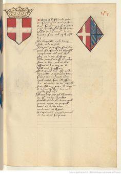 Coat of arms of Amadeus VIII, Duke of Savoy and of Mary of Burgundy. Receuil de la généalogie de la noble maison de Luxembourg.
