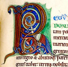 """""""R"""" with Dragon. England 12th cent, Harley 105 BL"""