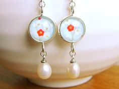 Plum  Blossom Earrings Japanese  Chiyogami Washi Paper Plum Blossoms And Pearls. $18.50, via Etsy.