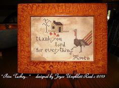 Prim Turkey pdf cross stitch pattern by JoyceReedfolkart on Etsy