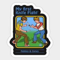 Shop My First Knife Fight retro stickers designed by StevenRhodes as well as other retro merchandise at TeePublic. Scary Art, Creepy, Clueless Quotes, Foto Top, Bizarre Art, Retro Illustration, Vintage Horror, Aesthetic Stickers, Retro Aesthetic