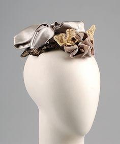 Evening hat Madame Tierce Date: ca. 1895 Culture: American Medium: Silk, linen, rhinestones, metallic beads, sequins
