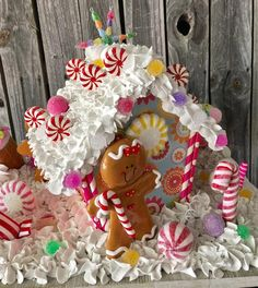Your place to buy and sell all things handmade Pink Christmas, Christmas Candy, Christmas Crafts, Christmas Games, Candy Christmas Decorations, Christmas Centerpieces, Ice Cream Decoration, Christmas Gingerbread House, Gingerbread Houses