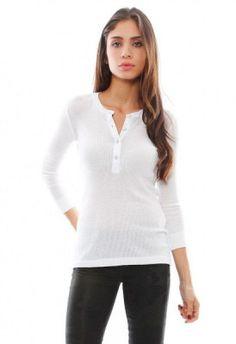 NWT!  RAG & BONE BASIC HENLEY Sz XS Bright WHITE Tee Shirt Top Thermal Knit $150 #ragbone #KnitTop