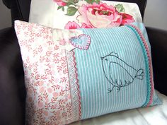 Pillow with vintage fabric added