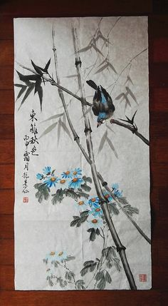 Traditional Chinese Painting,  Bird, Bamboo, Flower, Ink & watercolor Painting, Study Decoration, chrysanthemum. Autumn in the garden