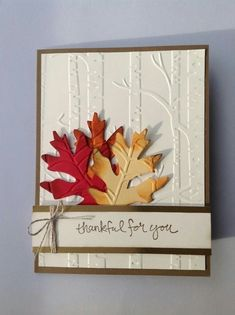 Embossed trees and die cut autumn leaves on this lovely Fall card - Karten - halloween cards Making Greeting Cards, Greeting Cards Handmade, Handmade Fall Cards, Holiday Cards, Christmas Cards, Handmade Thanksgiving Cards, Stampin Up Karten, Adornos Halloween, Leaf Cards