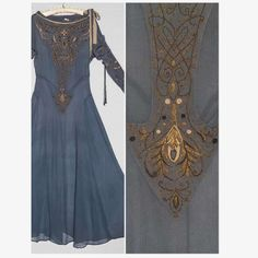 augustaauctions:  Beautiful 1930s Slate blue Plisse chiffon dress with metallic gold and pale pink embroidered swirls. In very good condition.