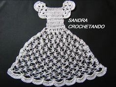 AS RECEITAS DE CROCHÊ: Pano de prato boneca com vestidinho de croche