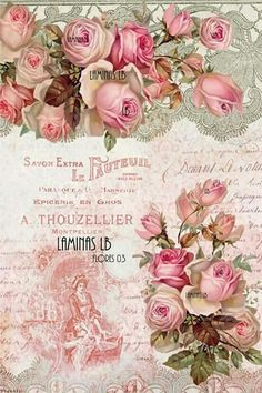 Raindrops and Roses Floral Vintage, Vintage Diy, Vintage Tags, Vintage Labels, Vintage Ephemera, Vintage Prints, Vintage Paper, Vintage Flowers, Scrapbooking Vintage
