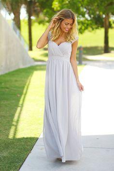 Gray Bridesmaid Maxi Dress
