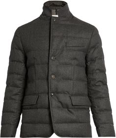 Moncler Rodin Wool-flannel Quilted Down Coat In Dark-grey New York Fashion, Runway Fashion, Mens Fashion, Fashion Trends, Mens Wool Coats, Flannel Quilts, Man Quilt, Rodin, Down Coat