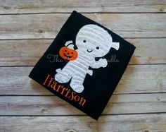 Trick- or-Treating Mummy Halloween Shirt by TheCypressNeedle on Etsy