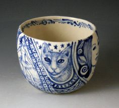 blue and white porcelain painted cup with by PSPorcelain on Etsy