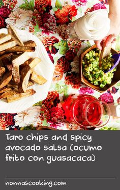 Taro chips and spicy avocado salsa (ocumo frito con guasacaca) | Similar to potato chips, these Venezuelan taro chips are given a double fry in this recipe for an extra crisp result. They are also popular thinly sliced, like corn chips. Guasacaca, a spicy avocado salsa similar to Mexican guacamole, often accompanies the chips as a dip. Every Latin country has its own variation of the salsa – some mash the ingredients until they are smooth, while others are left chunky, and more like a…