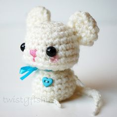 Baby White Mouse Kawaii Mini Amigurumi by twistyfishies on Etsy