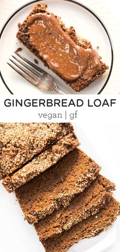 This vegan gingerbread loaf is a nutritious version of the classic holiday treat, made without any dairy, eggs, gluten or oil. Filled with wholesome ingredients, it makes the perfect Christmas morning breakfast or edible holiday gift! Easy homemade, from-scratch recipe that is great for a crowd. #gingerbreadloaf #gingerbreadrecipes #christmasbaking