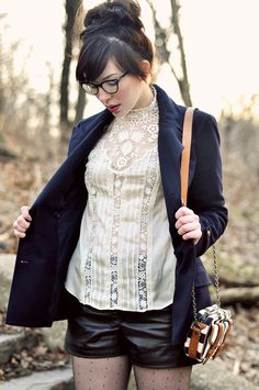 Victorian style lace blouse and blazer (please ignore leather shorts - lol)