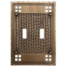 Mission Design Solid Brass Double Switch Plate - Antique Brass