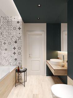 Sophisticated Scandinavian Style Home With Green Decor Bathroom Interior, Modern Bathroom, Small Bathroom, Apartment Bedroom Decor, Apartment Design, Bad Inspiration, Bathroom Inspiration, Bedroom Decor For Women, Scandinavian Style Home