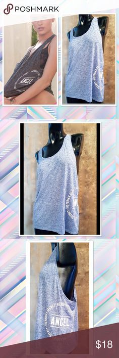 Victoria's Secret Racerback Angel Tank Top *nwt* Just a little racy: this airy tank teams a scoopback and a racerback with the lived-in feel you love. 	•	Slightly loose fit 	•	Semi sheer 	•	Lightweight, soft and drapey with a heathered look 	•	Hits at waist 	•	Machine wash 	•	Imported polyester/flax Victoria's Secret Tops Tank Tops