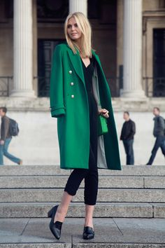 fashion, style, coat, green, black, female,