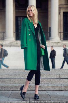 fashion, style, coat, green, black, female,