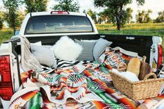 summer date night inspiration. outdoor date perfect for warm weather and star gazing! pack a picnic and cozy up in the back of your man's truck :) more about our date night is up on the blog!