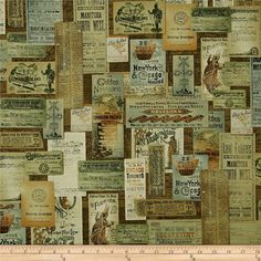 Train Travel Poster Fabric - Locomotion Station Master Fabric Antique Brown by Bristol Bay Studio for Benartex  2699 - 1/2 yard