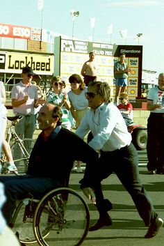 Bernie Ecclestone pushing Frank Williams at a charity run organized at Silverstone. 1987 British Grand Prix, Silverstone Circuit © Martin Lee (Karting N. Cool Pictures, Cool Photos, Charity Run, Williams F1, British Grand Prix, Formula 1 Car, Michael J, Racing Team, Travel Photographer