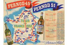 Lot 582 - Affiche du Tour de France 1952 remporté par Fausto Coppi, offerte par les Ets Pernod pour être